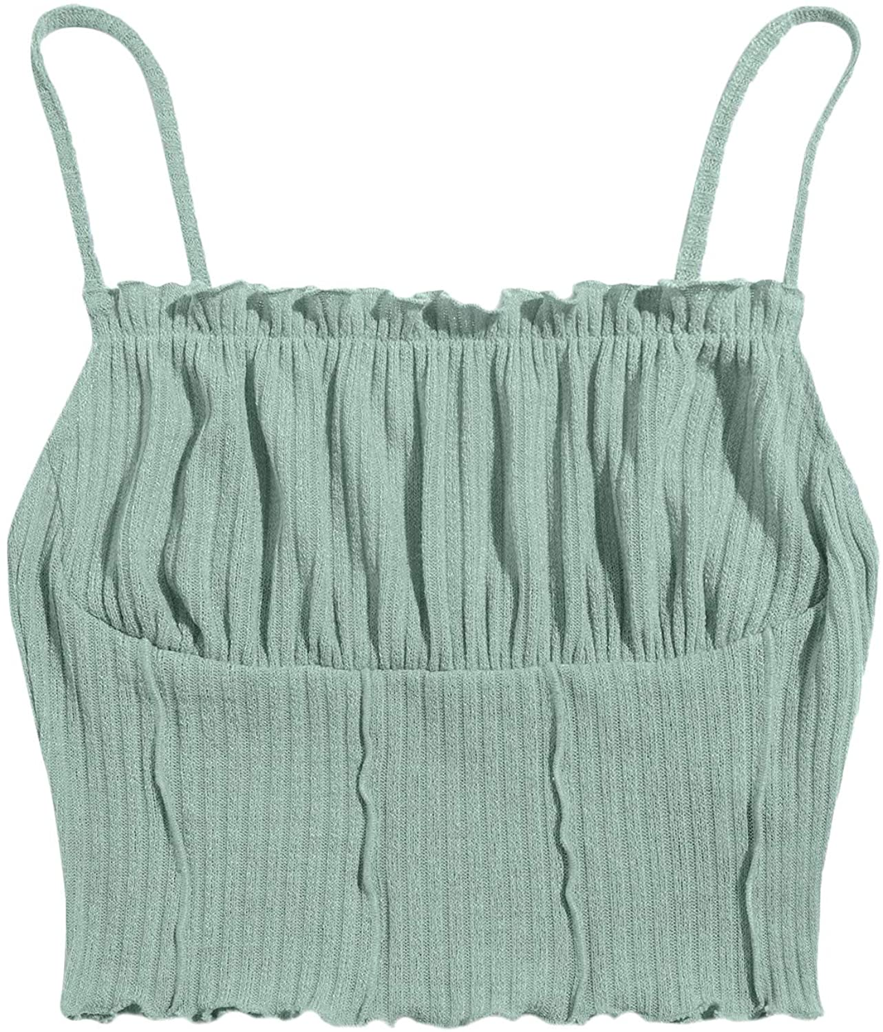 SheIn Women's Ruched Bust Sleeveless Crop Cami Top Frill Trim Rib Knit Camisole
