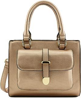 Front Pocket Accent Small Satchel Bag with Shoulder Strap