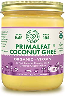 Pure Indian Foods PRIMALFAT Coconut Ghee 14.2 oz, Virgin & Certified Organic
