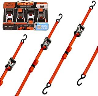 SMARTSTRAPS 14-Foot Premium Ratchet Straps (4pk) 3,000 lbs Break Strength 1,000 lbs Safe Work Load, Haul Heavy-Duty Loads Like Boats and Appliances Strong, User-Friendly Ratchet Straps