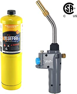 MR. TORCH BTS-8088 Auto ON/OFF Trigger Start Heavy Duty Gas Welding Torch Head, Adjustable Swirl Flame, Hand Hold Portable, Fuel by MAPP/MAP Pro/Propane, CSA Certified (Torch Kit with MAPP Cylinder)
