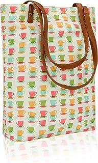Kleio Light Weight Top Handle Printed Canvas Beach Travel Tote Shopping Bags, Work Shoulder Handbags For Women Girls Ladies