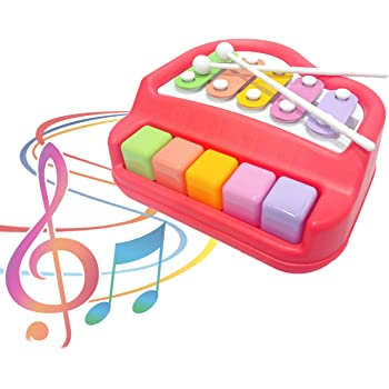 Popsugar 2 in 1 Xylophone and Piano Toy with Colorful Keys for Toddlers and Kids, Red