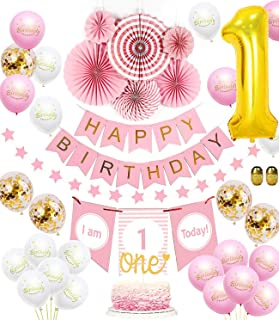 Baby Girl First Birthday Decorations|1st Birthday Girl Decorations Set|Happy Birthday Banner,Number 1 Balloon,I am 1 Today Banner,Pink Fiesta Hanging Paper Fan Flowers,One Cake Topper (Gold)