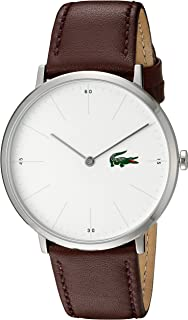 Lacoste Men's Stainless Steel Quartz Watch with Leather Calfskin Strap, Brown, 20 (Model: 2010872)