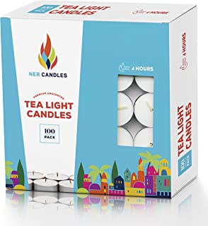 Tea Lights Candles - 4.5 Hour Burn Time - 100 Pack Bulk Candles - White Unscented - Travel Candles - Shabbat Candles - Long Burn Time