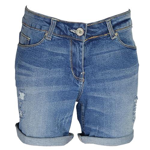 0efa9f142d8 AFS Ladies Stretchy Denim Shorts Distressed Jeans Boyfriend Skinny Hotpants  Ripped Rollup Half Pants Blue