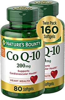 Nature's Bounty CoQ-10 Dietary Supplement, Supports Cardiovascular and Heart Health, 200mg Twin Pack, 160 Rapid Release So...