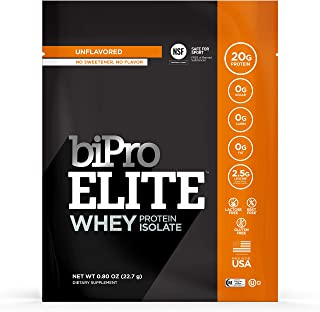 BiPro Elite to-Go 100% Whey Isolate Protein Powder, Unflavored, 12 Single-Serve Packets - NSF Certified for Sport, Sugar Free, Lactose & Gluten Free