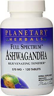 Planetary Herbals Full Spectrum Ashwagandha (Winter Cherry) 570 mg Tablets' 120 Tablets (Pack of 2)