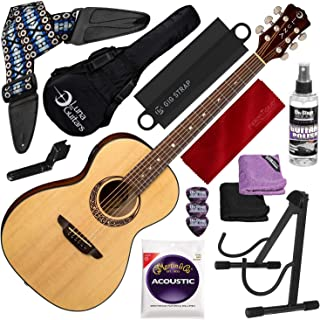 Luna Gypsy Muse Parlor Spruce Guitar with Tuner & Gig Bag + Guitar Stand Deluxe Accessory Bundle