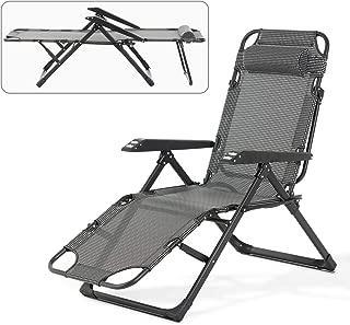 Mecor Lounge Chairs Folding Bed Adjustable Recliner Patio Chairs Folding Recliner Outdoor Indoor Yard Beach (Plaid)