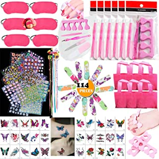 TABGIME 114PCS Girls Spa Party Supplies Favors for Kids Spa Experience, Multiple Spa Kit w/Spa Mask Bag Colored Hair Exten...