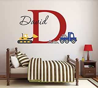 Lovely Decals World LLC Custom Construction Truck Name Wall Decal for Boys Nursery Baby Room Art Decor Vinyl Sticker (34