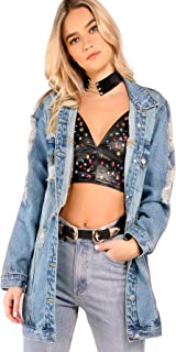 Floerns Women's Washed Distressed Boyfriend Jean Denim Jacket