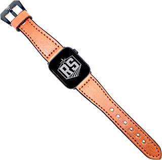 Rancher Supply English Bridle Watch Bands Compatible with Apple Watches | Tan Leather/Orange Stitching with Black Adapter and Buckle 42MM