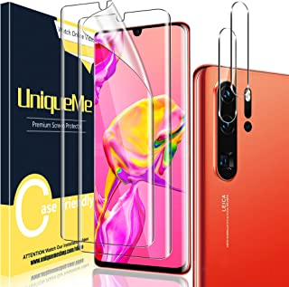 [2+2 Pack] UniqueMe Compatible for Huawei P30 Pro Full Coverage Flexible Soft TPU Screen Protector and Tempered Glass Came...