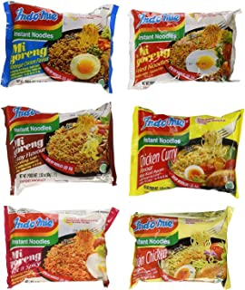 Indomie Variety Pack - 1 Case (30 Bags) - BBQ, Satay, Hot Spicy, Fried Noodles, Curry & Onion Chicken
