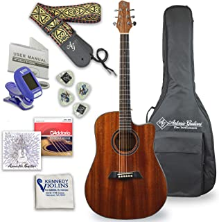 Antonio Giuliani Acoustic Mahogany Guitar Bundle (Clear) (DN-1) - Dreadnought Guitar with Case, Strap, Tuner, Strings and ...