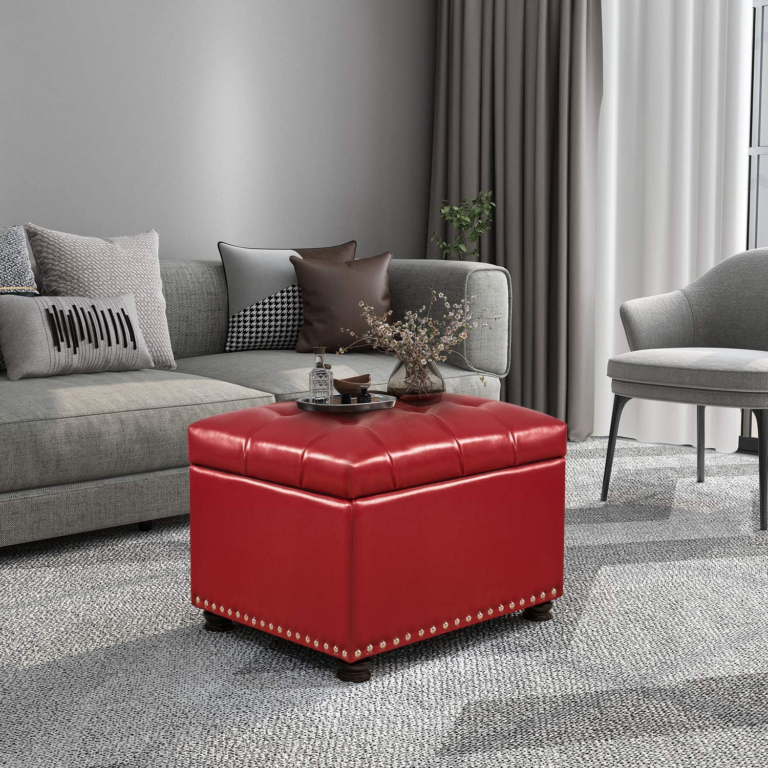 Homebeez Tufted Storage Ottoman Bench Stoo Leather Faux Choice Footrest Charlotte Mall