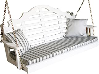 Wood Porch Swing, Amish Outdoor Hanging Porch Swings, Patio Wooden 2 Person Seat Swinging Bench, Classic Front Porches Furniture, Designer Outside Furnishings, 2 Styles, 5 Foot (5ft, White)