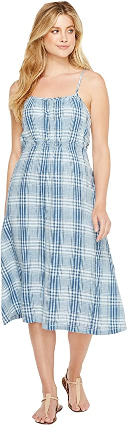Genuine Indigo Linens Bonita Slip Dress Denim Small Plaids