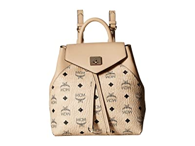 MCM Essential Visetos Original Backpack Small (Beige) Backpack Bags