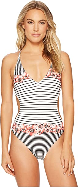 Vince Camuto - Blossom Stripes Plunging Double Cross-Back One-Piece Swimsuit