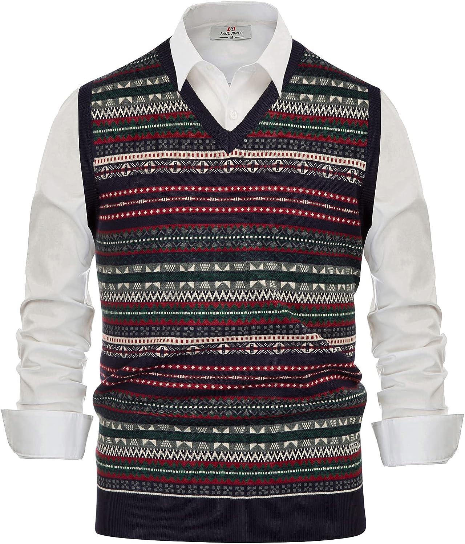 1930s Men's Clothing PJ PAUL JONES Mens V-Neck Fair Isle Sweater Vest Vintage Contrast Sweater Vest  AT vintagedancer.com