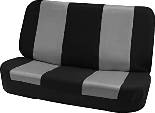FH Group FB102010 Classic Cloth Bench Seat Covers Gray/Black Color- Fit Most Car, Truck, SUV, or Van