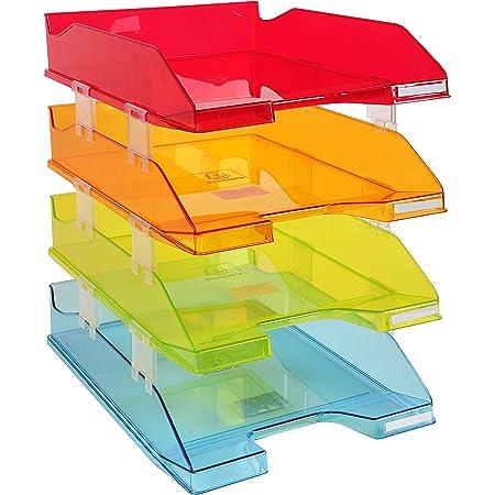 Exacompta - Réf. 113299SETD - Set de 4 corbeilles à courrier COMBO MIDI - dimensions 34,6x25,4x24,3 cm - pour documents au format A4+ - Couleurs assorties