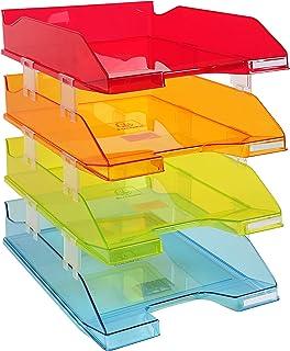 Exacompta - Réf. 113299SETD - Set de 4 corbeilles à courrier COMBO MIDI - dimensions 34,6x25,4x24,3 cm - pour documents au...