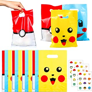 MALLMALL6 60Pack Pikachu Candy Treat Bags Party Favors Bags Goodie Bags Pikachu Birthday Party Supplies Decorations Video ...
