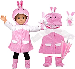 Bunny Rain Doll Outfit (4 Piece Set) - Clothes & Accessories Include Raincoat, Umbrella, Boots, & Stuffed Bunny - for American Girl & 18