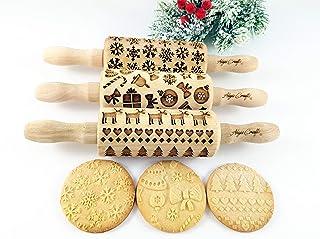Weihnachten 3-er SET Kinder Nudelhölzer Teigrolle für hausgemachtes Gebäck. Weihnachten Teigrolle. Gravierte Nudelholz. Gr...
