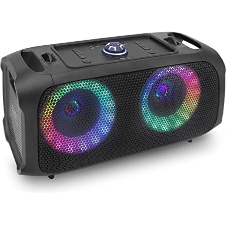 Wireless Portable Bluetooth Boombox Speaker - 500W Rechargeable Boom Box Speaker Portable Barrel Loud Stereo System - Flashing LED, FM Radio/Aux/MP3/USB Flash Drive/Micro SD, & 1/4 in - Pyle PPHP652B