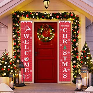 Vosarea Merry Christmas Banner Outdoor Indoor Decorations Welcome Christmas Porch Sign Red Xmas Decor Hanging Banner for Home Wall Door Apartment Party