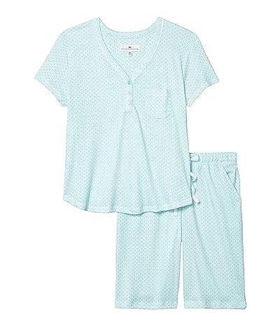 Karen Neuburger Petite Sky and Forest Short Sleeve Bermuda Pajama (Sage Geo) Women