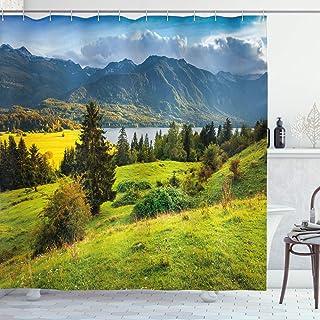 ABAKUHAUS Paisaje Cortina de Baño, Verano Lago de mañana, Material Resistente al Agua Durable Estampa Digital, 175 x 200 cm, Verde Azul Amarillo