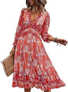 Vestido Mujer Bohemio Largo Verano Playa Fiesta Floral Manga Larga Cuello en V Maxi Vestidos Cóctel Falda Larga Vestido Swing