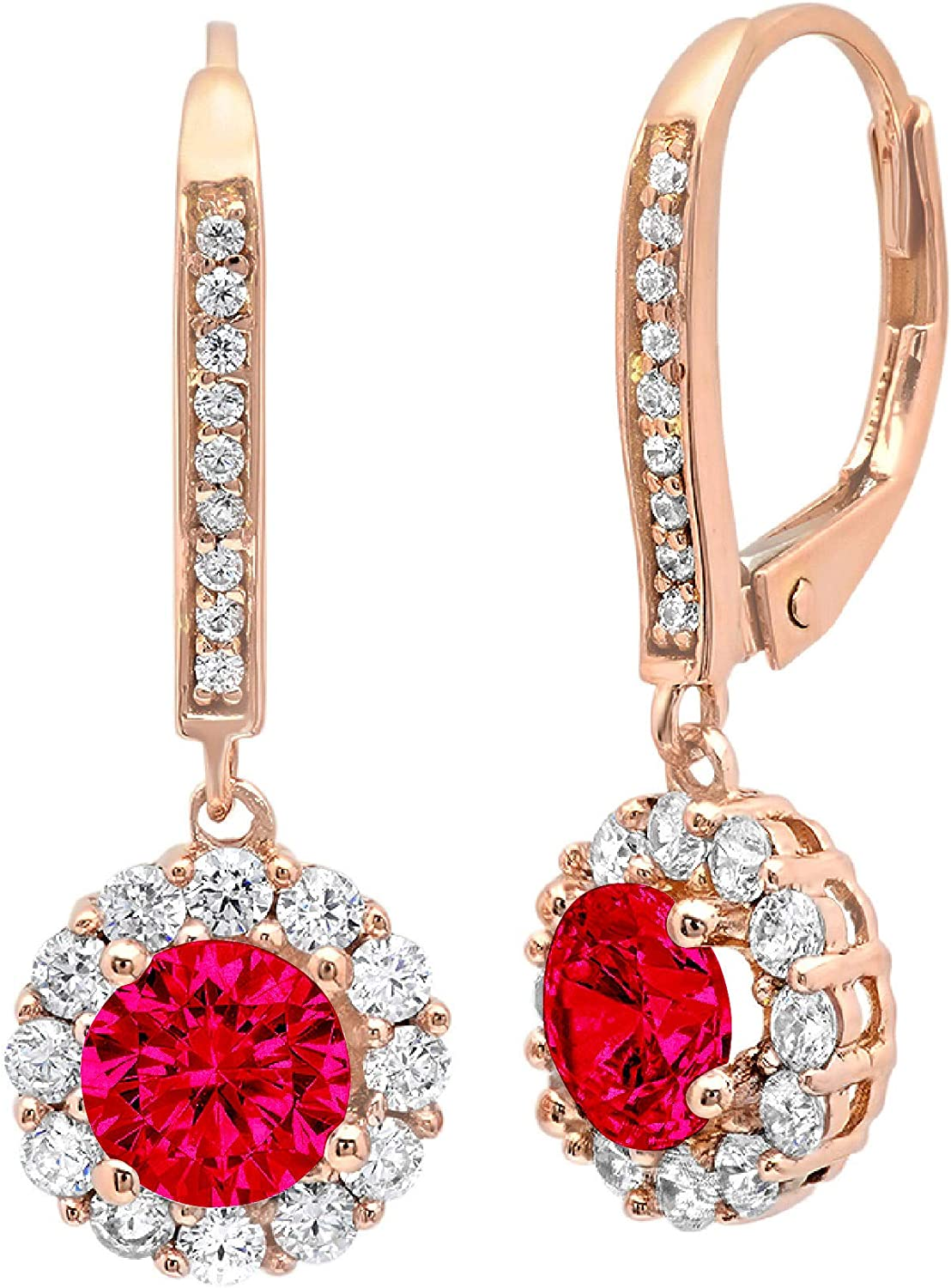 3.55 ct Brilliant Round Cut Halo Solitaire Genuine Pink Tourmaline Gemstone VVS1 Ideal Pair of Leverback Drop Dangle Designer Earrings Solid 18k Rose Pink Gold