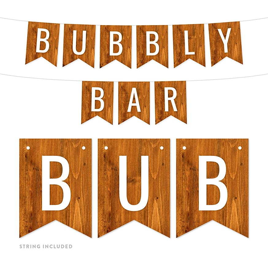 Andaz Press Rustic Barn Wood Funny Alcohol Party Banner Decorations, Bubbly Bar, Approx 5-Feet, 1-Set, Wedding Bridal Shower Bachelorette Birthday Colored Themed Hanging Pennant Decor