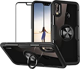 Case for Huawei P20 Lite/Nova 3e with Tempered Glass,Slim Silicone Soft TPU Bumper Hard Transparent Back Cover Shell with ...