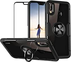 Case for Huawei P20 Lite/Nova 3e with Tempered Glass,Slim Silicone Soft TPU Bumper Hard Transparent Back Cover Shell with Metal Ring Magnetic Kickstand,Black