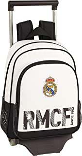 Real Madrid CF Mochila Pequeña Ruedas, Carro, Trolley, Niños, Blanco, 34 cm