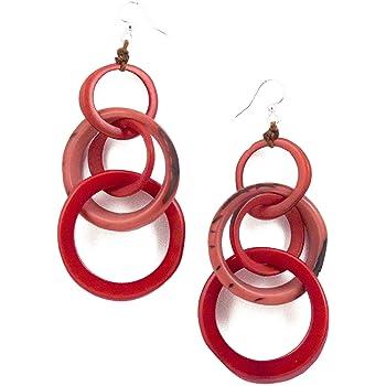 Organic Tagua  Dangle Earrings Ecuador Poppy Coral