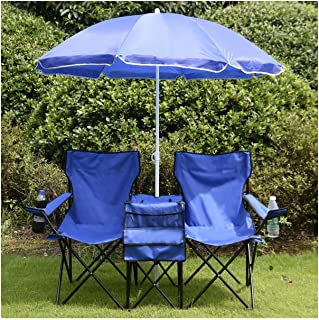 COSTWAY Portable Folding Picnic Double Chair W/Umbrella Table Cooler Beach Camping Chair