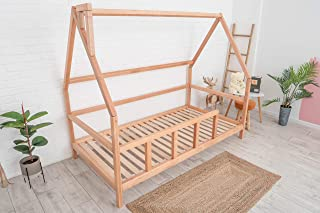 Montessori Bed For Toddlers - Wooden House Bed Frame For Kids - Twin Bed Kids - Toddler Bed Montessori (Model 1, Natural tree, with Legs & Slats)