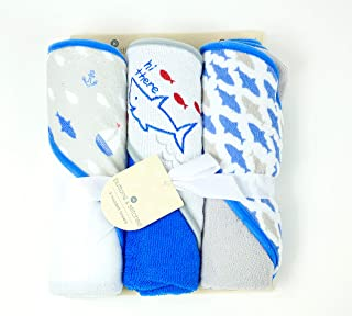 Buttons and Stitches Culdie Buttons and Stitches 3 Pack Rolled Hooded Towels in Hello Ocean Print
