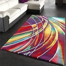 Paco Home Tappeto Moderno di Design Tappeto con Disegno Colorato Mix di Colori, Dimensione:80x150 cm